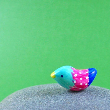 Colorful Little Bird  Hand Sculpted by MadeWithClayAndLove on Etsy