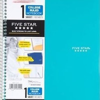 Five Star Wirebound Notebook, 1-Subject, 100 College-Ruled Sheets, 11 x 8.5 Inch Turquoise /Teal