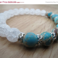 ON SALE Turquoise  Sea Sediment Jasper Crackling Ice Quartz Bracelet Gemstone Beaded Rhinestone Rondelles Bracelet Crystalcure  Stability