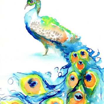 ORIGINAL Watercolor painting, Peacock Bird, 8x10 inch, Blue and Orange, Colorful, Contemporary art