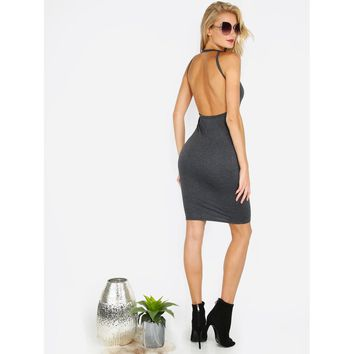 Open Back Sleeveless Bodycon Dress