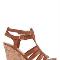 Open Toe Platform Wedge with Cork Heel and Strappy Upper