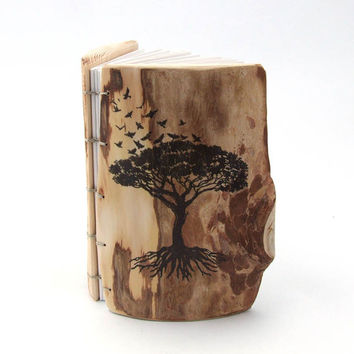 Rustic WEDDING GUEST BOOK - personalized - Coptic Binding - Tree of Life - wooden guestbook