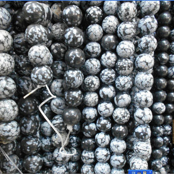 Free Shipping Snowflake Obsidian Beads Round Selectable Size 4 6 8 10mm Natural Stone Beads For Jewelry Making Diy Bracelet