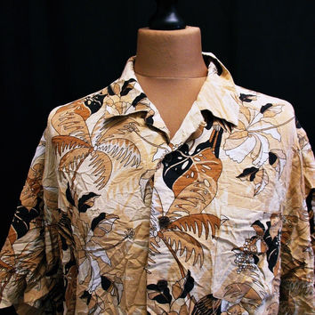 Vintage 90s Hawaiian Brown Print Pattern Shirt XL Extra Large