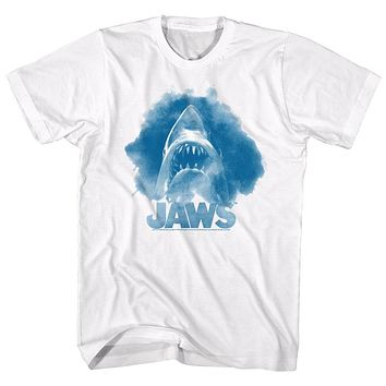 Jaws Tall T-Shirt Blue Watercolor Portrait White Tee