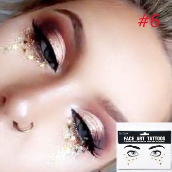 1 PC Personality Fashion Disposable Gold Face Tattoo Stickers Waterproof Bronzing Beauty Freckles Makeup Flash Body Art