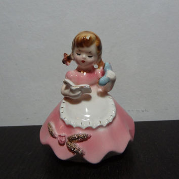 Vintage Josef Originals Little Girl Ceramic Figurine - Little Girl with Phone and Phone Book - Signed
