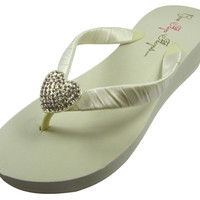 2 inch Wedge Heart Wedding Flip Flops Wedges - or 1.25, 3.5 Heel Platform, Ivory or White