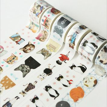 2.5cm * 7m Cute Cat washi Tape DIY decoration scrapbooking planner masking tape adhesive tape label sticker stationery