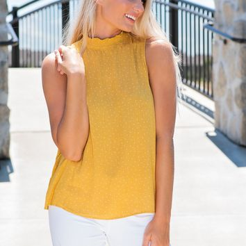 Rush Smocked Neck Blouse: Mustard