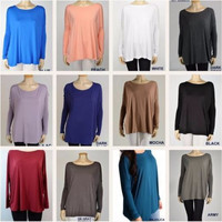 PIKO Bamboo Slouchy LS Tops - Many Colors