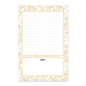 Beige Lace Notepad, 100 pages, 5.5 x 8.5 inches, with optional magnet