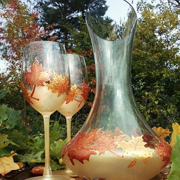 Hand painted wine bottle decanter Autumn maple leaves in gold and copper color