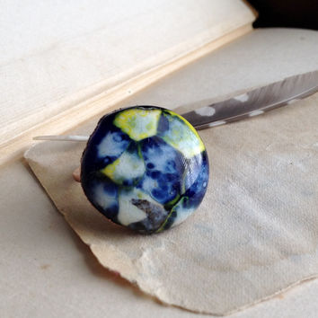 Blue Lampwork Glass Ring - Copper Coated - Size 8.5