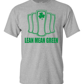 St Patrick's Day Mens Cool Fun Lean Mean Green Beer Tshirt Color White Heather Grey Tee Green Ink S M L XL 2XL 3XL