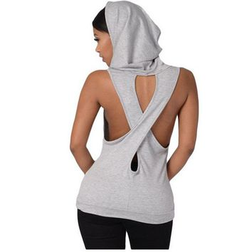Sexy V Collar Sports Yoga Top Jersey Women Sleeveless Sport Hoodies Lady Dance Running Shirts Vest Fitness Tops Backless