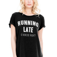 Local Celebrity Running Late Schiffer Tee in Faded Black