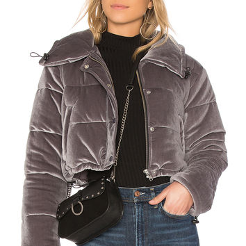 Lovers + Friends Dee Cropped Puffer in Dark Grey