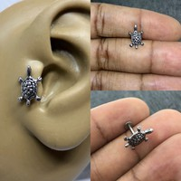 16g stainless steel turtle labret, cartilage, tragus, helix piercing earring