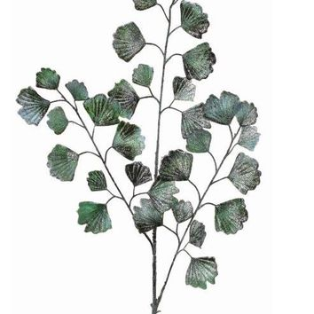 "Frosted and Glittered Green Fake Gingko Leaves - 36"" Tall"