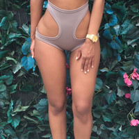 Grey Cut-Out High Waisted Bikini