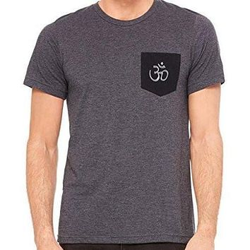 Yoga Clothing for You Mens Hindu Ohm Patch Pocket Tee Shirt