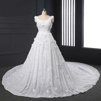 Luxury Lace Wedding Dress Scoop Appliques Beads Flowers Backless Ball Gown Long Wedding Dresses Floor Length