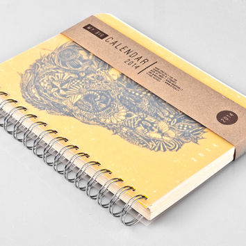 2015 Year Weekly Planner Calendar Diary Day Agenda A5 Skull Yellow Handmade Summer Gift - October-2-October available!