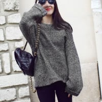 Lazy Style Loose Batwing Pullover Solid Color Sweater