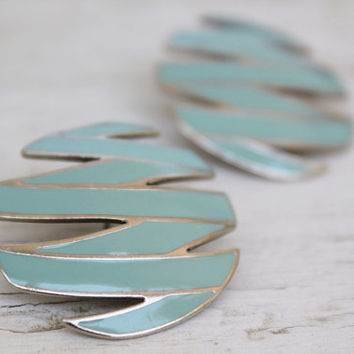Pastel Blue Earrings, Retro Geomertic Post Earrings
