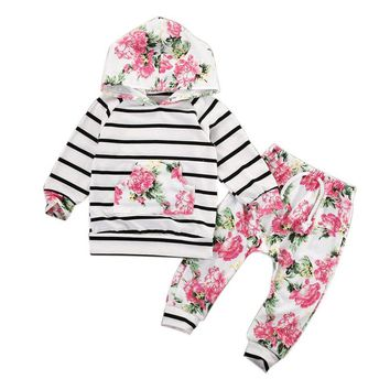Baby Boy Girl Clothes Sets Flower Striped Long Sleeve Cap Suit Newborn Baby Clothing