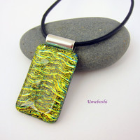 Golden Treasure Handmade Dichroic Fused Glass  Pendant Green Gold Rectangular Cabochon Necklace