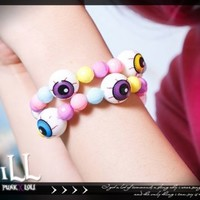STREET PUNK visual KERA colourful eyeball bead bubble gum elastic bracelet | eBay