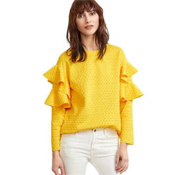 Women Yellow Polka Dot Embossed Cute Tops New Fashion Spring Casual Elegant Blouse