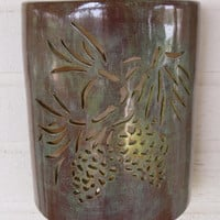 Pine Cone and needles cutout ceramic exterior wall sconce hand made to order in New Mexico USA