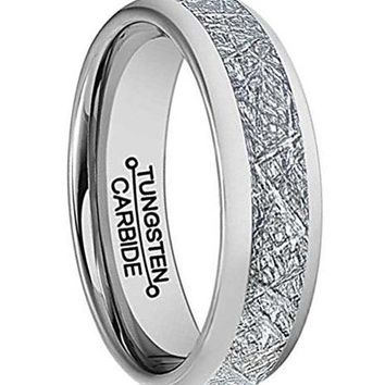 6mm Silver Tungsten Carbide Ring Vintage Meteorites Pattern Wedding Engagement Band Domed
