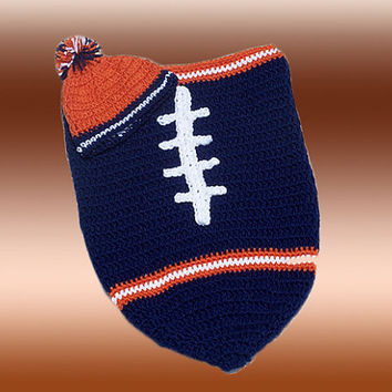 Chicago Bears Inspired Football Baby Cocoon & Hat (Newborn to 3 months)