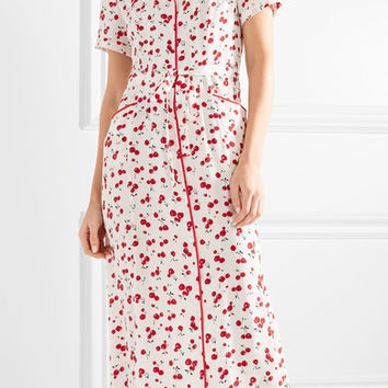 HVN - Long Maria printed silk crepe de chine midi dress