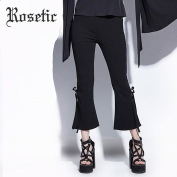 Flare Bottom Ankle-Length Bowknot Bell Bottom Pants