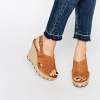 KG By Kurt Geiger March Tan Suede Espadrille Wedge Sandals at asos.com