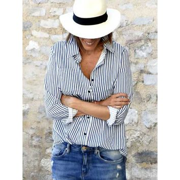 Going Up Striped Blouse - Blue