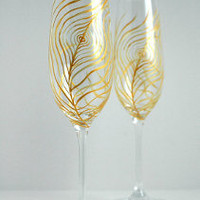 Gold Peacock Champagne Flutes