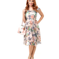 Hell Bunny 1950s Style Taupe Floral Marilyn Chiffon Swing Dress