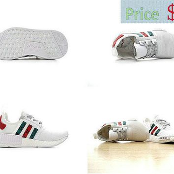 Latest Unisex New Gucci x Adidas NMD Custom White Red Green shoe