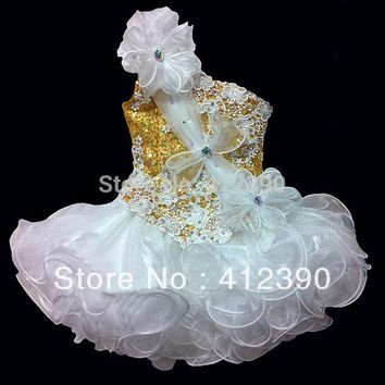 Free shipping new arrival white organza and gold sequin mini beading one shoulder cupcake flower girl dress pageant gril dress