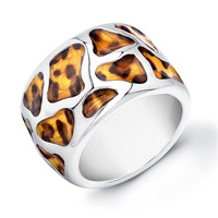Sterling Silver Rhodium Plated and Leopard Design Enameled Ring