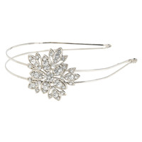 Aeropostale  Jeweled Flower Metal Headband - Silver