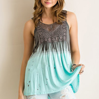 Dip Dyed Tank Top - Mint and Gray