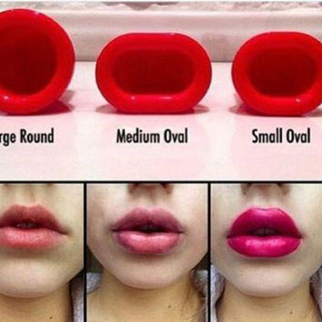 Creative Lip Plumper Sexy Full Natural Red Lips Plump Lip Enhancer Round Oval
